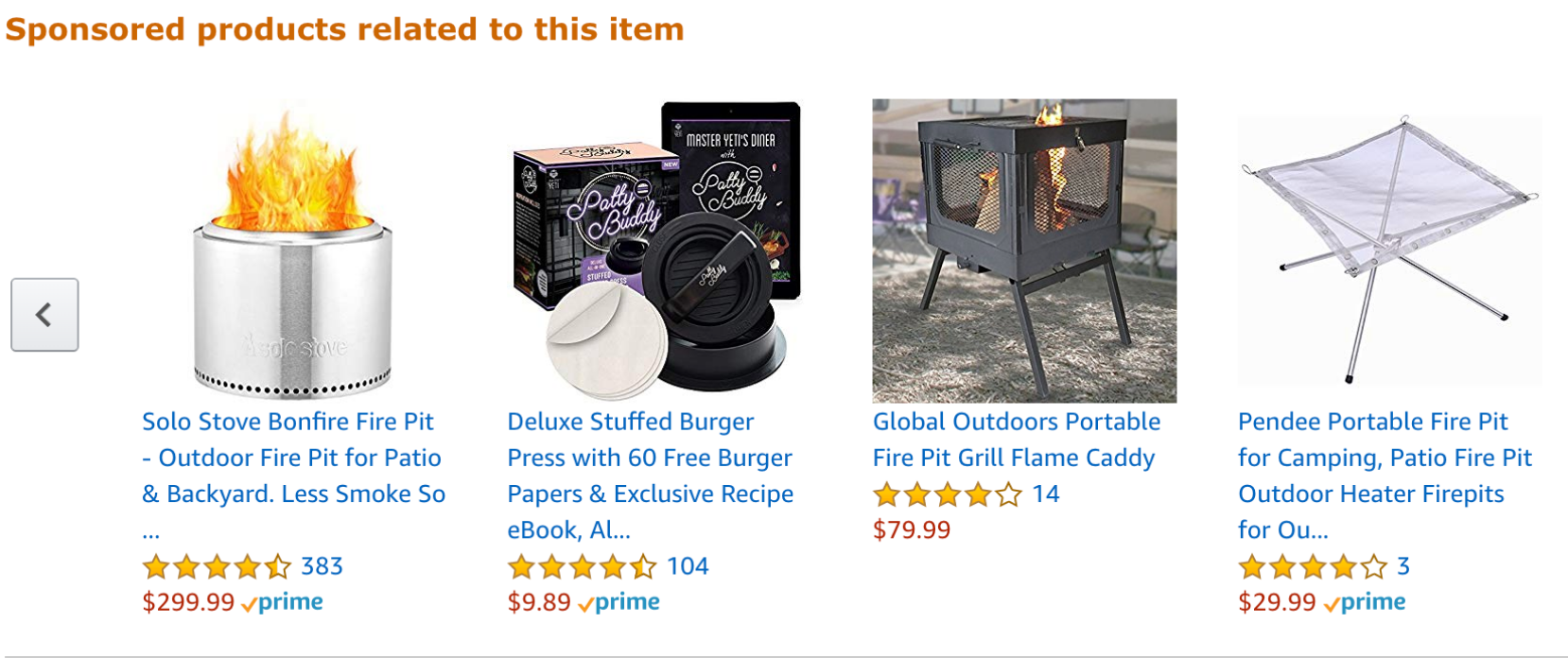 Amazon shows sponsored products on product pages as well