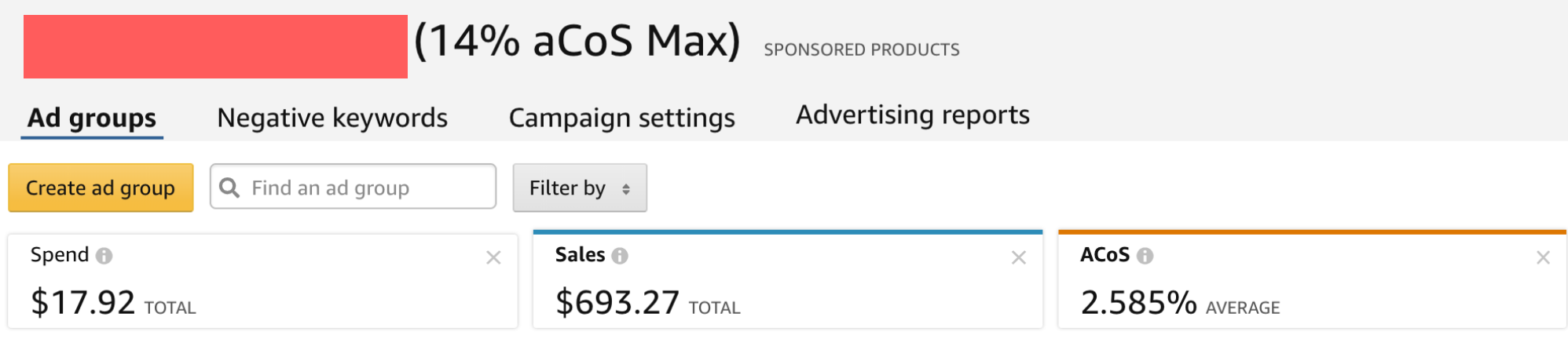Using the Average Cost to Acquire a Sale number as the name for my Amazon ad campaign