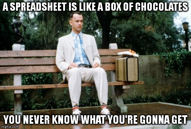 Forrest Gump Spreadsheets Meme